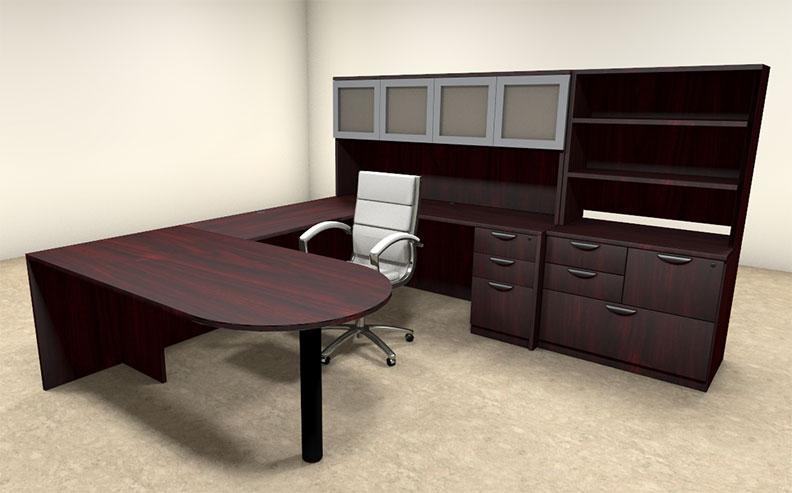 7pc u shaped modern executive office desk ot sul u51 ebay. Black Bedroom Furniture Sets. Home Design Ideas