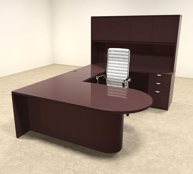5pc wood u shaped modern executive office desk set ot vet u12 ebay. Black Bedroom Furniture Sets. Home Design Ideas