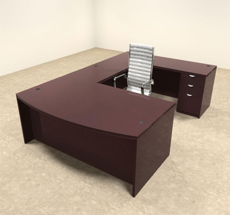 4pc wood bow front u shaped modern executive office desk set ot vet u2 ebay. Black Bedroom Furniture Sets. Home Design Ideas