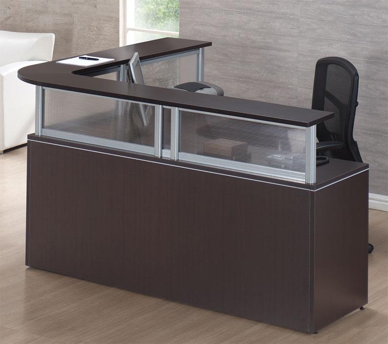 10pc L Shape Modern Contemporary Reception Office Desk Set