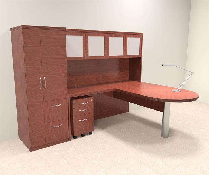 5pc modern contemporary l shaped executive office desk set ro abd