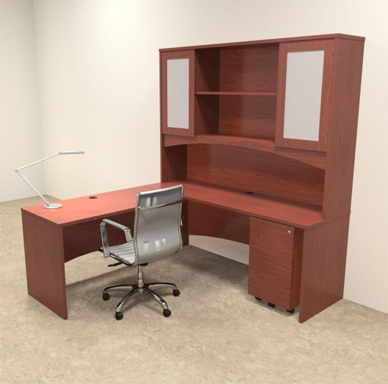 4pc modern contemporary l shaped executive office desk set ro bri