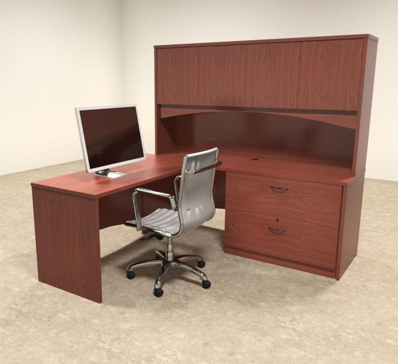 4pc modern contemporary l shaped executive office desk set ro bri l7
