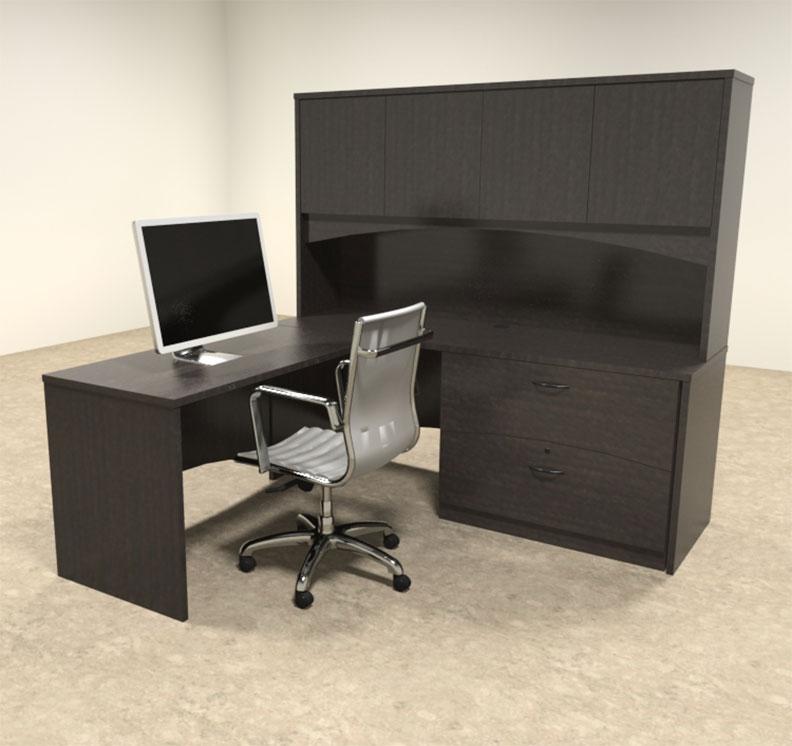 4pc modern contemporary l shape executive office desk set ro bri l8
