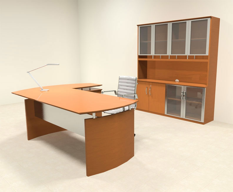 4pc modern contemporary l shaped executive office desk set ro nap