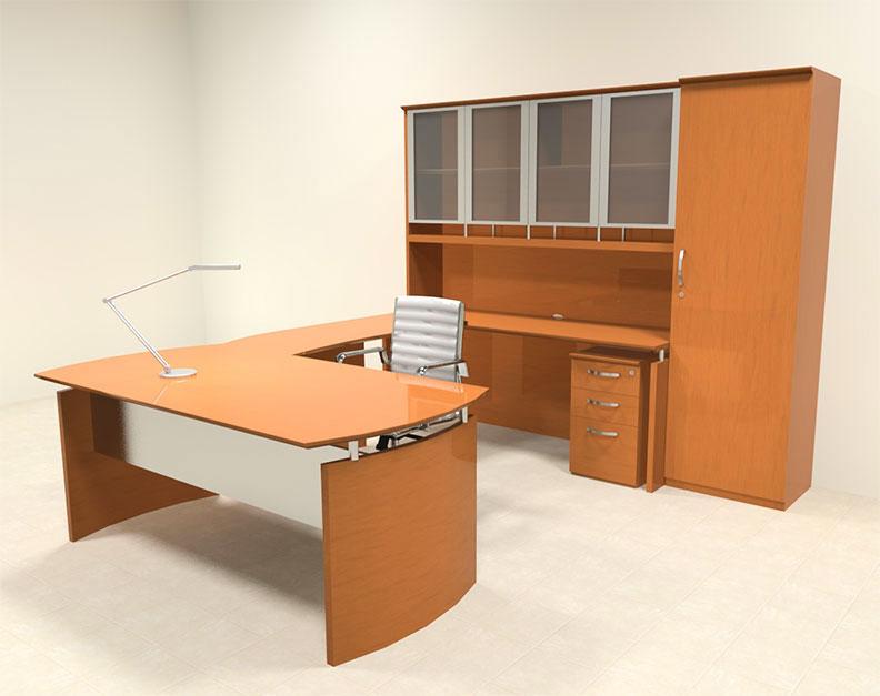 6pc modern contemporary u shaped executive office desk set ro nap u10 ebay. Black Bedroom Furniture Sets. Home Design Ideas
