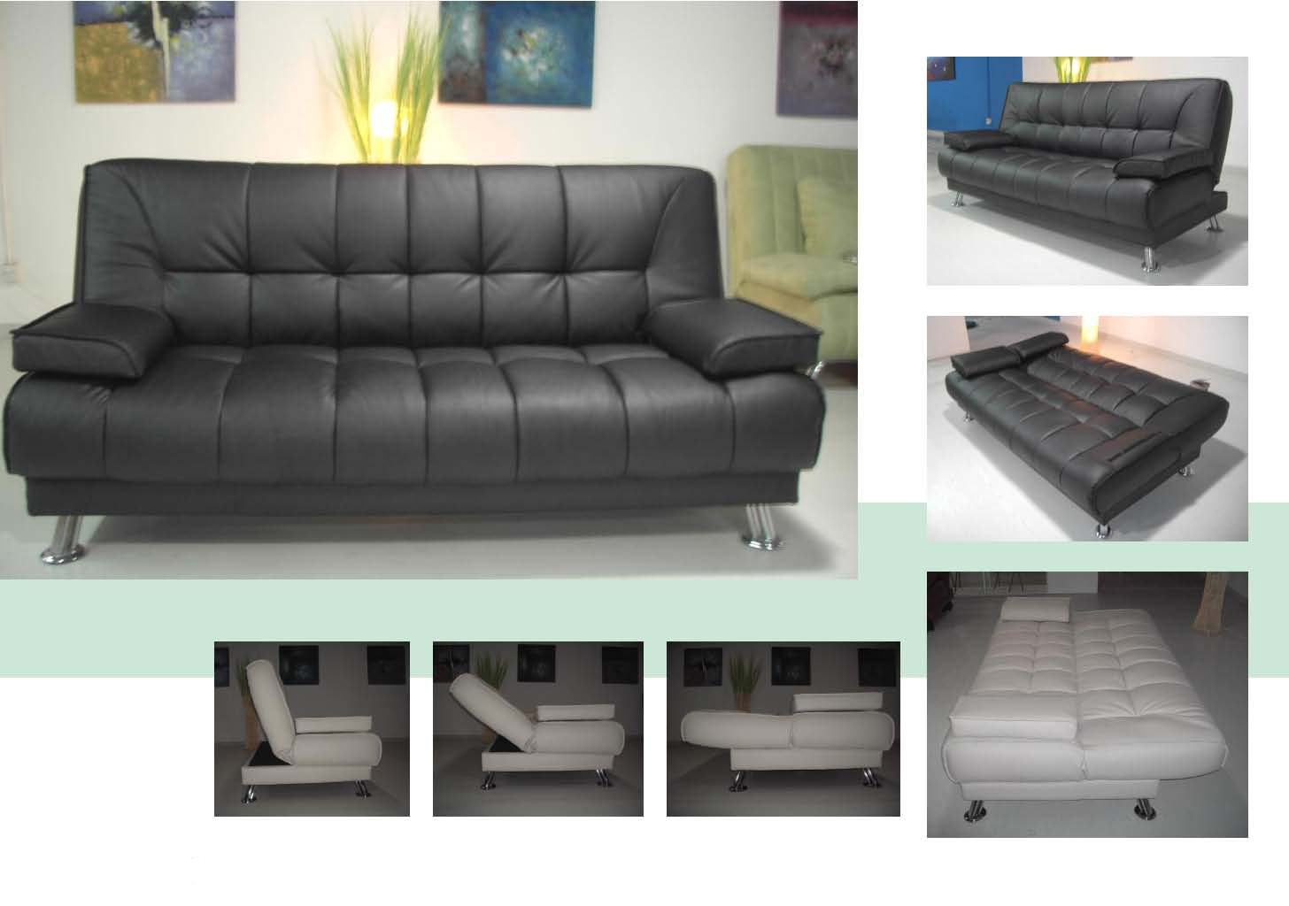 2pcs Modern Leatherette Futon Sofa Bed Set Item 3510 Ebay