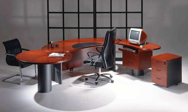 3Pc Cherrywood Modern Contemporary Oval Executive Office Desk U UTM